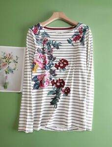 New Ex JOULES UK Size 26 Womens Harbour Floral Print Stripe Jersey Top