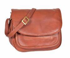 Womens Real Leather Brown Bag Flap over Shoulder Organiser Messenger Satchel NEW