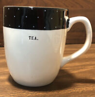 Rae Dunn by Magenta Artisan Collection TEA White And Black Polka Dots Cup Mug