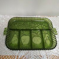 """Vintage Indiana green glass fruit  vegetable relish tray 13"""" X 9 includes handle"""