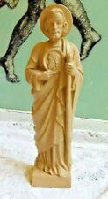 VINTAGE HARD PLASTIC CATHOLIC RELIGIOUS SAINT JUDE ? STATUE W STAFF AND JESUS