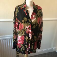 Per Una Black Floral Blouse Size 16 Summer Workwear Casual Office UK