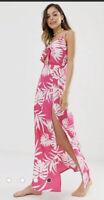 Influence Maxi Dress Size 8 floral print tie front beach Pink DZ07 New