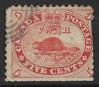 CANADA: 1859 QV 5c AMERICAN BEAVER - P12 G/VGU - SG31 - BULLSEYE CANCEL - OLD