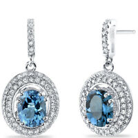 London Blue Topaz Halo Dangle Earrings Sterling Silver 3.00 Carats Total