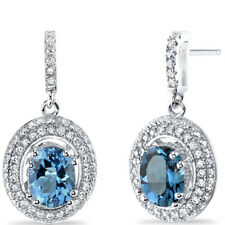 London Blue Topaz Halo Dangle Earrings Sterling Silver 3.00 Carats Total