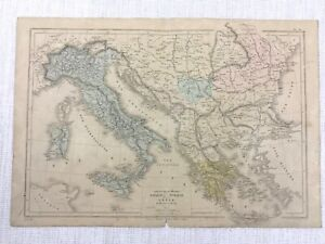 1877 Antique Map of Italy Greece Turkey Physical Hand Coloured 19th Century