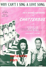 "CHATTERBOX Sheet Music ""Why Can't I Sing Love Song"" Judy Canova Joe E. Brown"