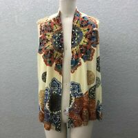 Bleu Open Front Cardigan Sweater Women's M Sheer Knit Embelished Back Sleeveless