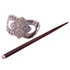 Indian Women Wooden Hair Stick Hand Carved Barrette Bun Pin Clip Hairs Accessory