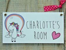 Personalised Name Plaque Door Nursery Bedroom Sign Gift Baby Girls Unicorn Room