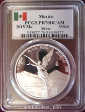 2015 1oz MEXICO SILVER LIBERTAD PROOF PCGS PR70DCAM 1 ONZA MEXICO FLAG LABEL