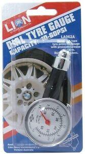 Lion Tyre Pressure Gauge 60 PSI Metal Dial Type With Relief Valve