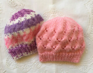* 2 New Born Plus * Baby Beanies * (Warm) * Pinks/Mauve * Aust Hand Knitted *