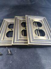Metal heavy duty plug covers. Brass like. Vintage looking. Look at screws pictur