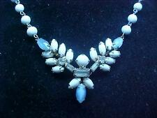 "Vintage Necklace Choker Milk Glass Beads & Blue Bead-hook Clasp 15"" Dainty"
