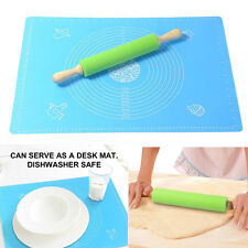 Non-Stick Silicone Rolling Pin & Large Silicone Pastry Mat For Rolling Dough