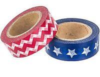 2 Rolls patriotic stars stripes Washi Tape Decorative Planner Supply journal