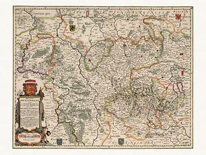 Old Antique Decorative Map of Brunswick Germany de Wit ca. 1682