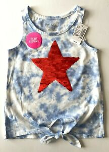 The Children's Place Girls Tank Top Blue Red Flip Sequins Star New Size XS (4)