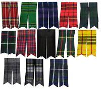 Mens Kilt Hose Sock Flashes With Garter Various Tartans Pointed Highland Wear