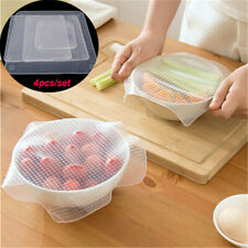 4x Reusable Silicone Seal Wrap Stretch Lid Microwave Food Fresh Bowl Cover