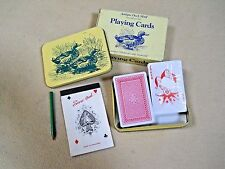 Antique Duck Motif Decorative tin & Sealed Playing cards with score pad & pencil