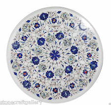 """18"""" Marble Corner White Round Table Top Lapis Inlay Art For Home Decor & Gifts"""