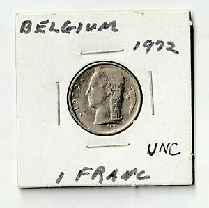 Belgium 1 Franc  1972 Gem Uncirculated Full cartwheel and luster - Lambagh Coll