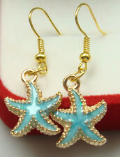 18K gilded Hook -1.5'' Starfish pink Oil Painted Cocktail Lady Earring b2dg