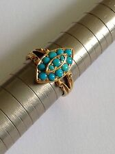 Antique Victorian 18ct Gold & Natural Turquoise Set Marquise Ring