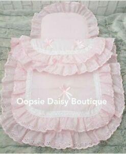 Spanish Romany Broderie Baby Pram Set Quilt & Pillow Set