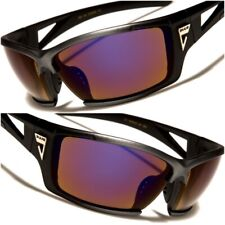 Driving Blue Mirrored Lens Wrap Sport Motorcycle Riding Biker Cycling Sunglasses