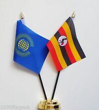 Commonwealth & Uganda Double Friendship Table Flag Set
