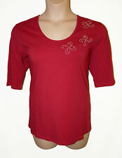 BNWT size Large SMART Ladies TOP STARS & ANGELS by MICHELE HOPE in GARNET