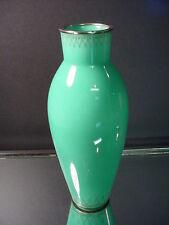 "Signed Early Ando Jubei Japanese Cloisonne 7 1/4"" Ht Jade Art Deco Design Vase"