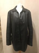 WS Leather Womens Authentic Black Leather Coat Size 18