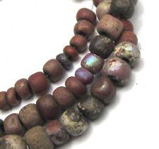 """13"""" STRAND OF 105 RARE TINY/SMALL VENETIAN GREENHEART N. AMERCIAN TRADE BEADS"""