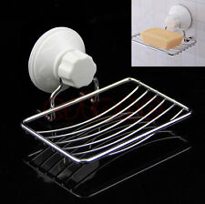 Wall Suction Cup Bathroom Bath Shower Steel Soap Dishes Holder Basket