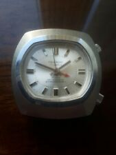 MENS VINTAGE CHUNKY TEGROV SICURA MECHANICAL ALARM WATCH 4 REPAIR TV SILVER DIAL