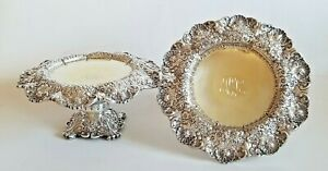 Beautiful 19С Antique Tiffany & Co Silver Repousse Pair Tazzas