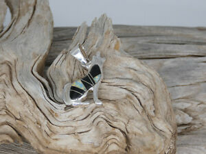Southwest Wolf Dog Sterling Silver 925 Black Onyx and Opal Double Sided Pendant