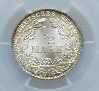 1916-D Germany-Empire  Silver 1/2 Mark PCGS MS67 (id:158) GORGEOUS TONING!!