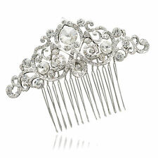 Bridal Bridesmaid Flower Hair Comb Tiara Accessory Clear Rhinestone Crystal 2301