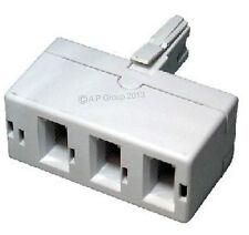 BT Telecom Treble Telephone Phone Fone Socket 3 way Adapter Splitter Fax Modem