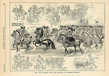 EQUESTRIAN HORSES RIDERS SIDESADDLE HUNT CLUB ANTIQUE PRINT 1885 GRAY PARKER
