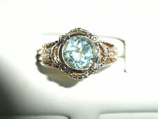 Sterling Silver Ring Size 8.5 Aquamarine Colored Blue Topaz And .925