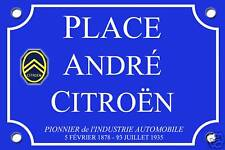 Réplique PLAQUE RUE André CITROEN ALU 20x30 MODIFIABLE