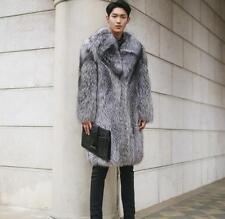 Luxury Mens Fox Fur overcoat Winter Warm Long JacketTrench Coat Outwear Parka SZ