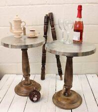 Nalanda Set of 2 Round Aluminium Side Tables Mango Wood Pedestal Shabby Chic